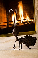Showpiece near a fireplace
