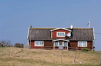 Trähus, Halland, Facade Of House In Field