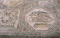 Mosaic showing hunters in Roman villa in Desenzano on Lake of Garda Italy