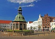 BRD Deutschland Mecklenburg Vorpommern City Wismar at the Market Square with Water Art small Tower and the Historical Down Town