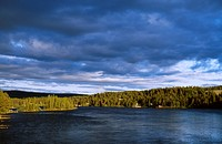 Kalixriver and dark blue sky at midnight hour, Swedish Lappland, Sweden