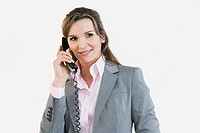 Businesswoman on telephone (thumbnail)