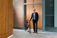 Cyclist outside building