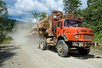 Logging trucks transporting logs from a rainforest to a sawmill. Photographed in Danum Valley, Sabah, Malaysian Borneo.