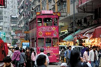 Tram at Mable Road market, North Point, Hong Kong