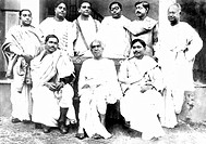 Early 20th century Indian scientists. Sitting from left: Meghnad Saha 1893_1956, astrophysicist, Acharya Jagadish Chandra Bose 1858_1937, polymath, Jn...