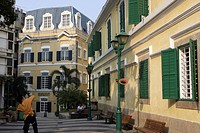 Portugese style architecture at St. Augustine´s Square, Macau