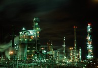 OIL REFINERY lit up at night. Dartmouth, Nova Scotia. eastern seabord of Canada
