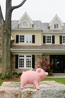 Piggy bank near house, Chatham, New Jersey, USA