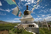 Tibetan stupa on the highland Shangri_la, China