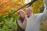 Portrait of couple in woods