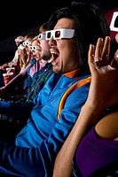 Audience in cinema wearing 3D glasses, making faces, close-up (thumbnail)