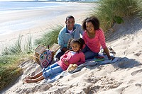 Portrait of family sitting on beach
