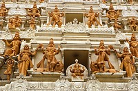 Ethnic sculptures on the outer wall of Sri Senpaga Vinayagar temple, Katong, Singapore