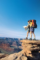 Backpackers standing at deadhorse point state park, UTAH USA.