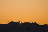 Sunset at mountain Wildkogel, Neukirchen, Pinzgau, Salzburger Land, Austria