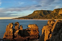Pancake rocks at sunset, Paparoa NP, South Island, New Zealand