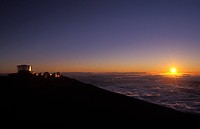 Sunset behind the observatory on Haleakala crater, Maui, Hawaii, USA