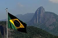Flag, Copacabana, Cristo Redentor, Rio de Janeiro, Brazil