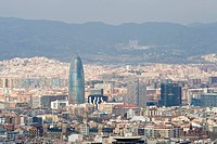 View at Barcelona, tower Block Torre Agbar, architect Jean Nouvel, Placa de les Glories, Barcelona, Catalonia, Spain
