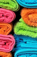 Colourful towels, Barcelona. Catalonia, Spain