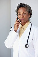 Doctor Talking on Cell Phone