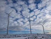 Windmill after a snowfall near Morella, Castellón, Comunidad Valenciana, Spain, Europe