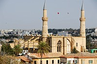 Old Gothic cathedral of Sophia with two minarets of Selimiye Mosque in the old town Lefkosa Nicosia North Cyprus