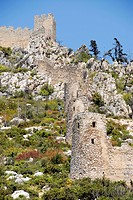 Walls and towers of the ruin of crusaders castle St  Hilarion North Cyprus