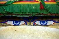 Buddhas eyes Bodhnath Stupa Kathmandu Nepal