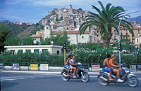 Motorcycles and palm withi old part of the city, Scalea, Calabria, Italy