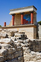 Reconstruction of the Minoian palace of Knossos, near Iraklion (Heraklion), Crete, Greece, Europe