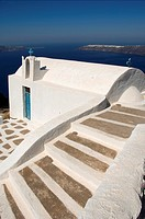 Church in front of the caldera, Imerovigli, Santorini, Cyclades, Aegean Sea, Greece