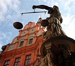 Schoenhof and Justitia, Goerlitz, Saxony, Germany, Europe