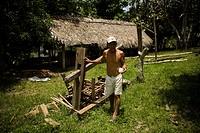 Man, House, Barreirinha Community, Monkey River, Amazônia, Manaus, Amazonas, Brazil