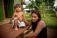 Woman and Child, Terra Preta Community, Cuieiras River, Amazônia, Manaus, Amazonas, Brazil