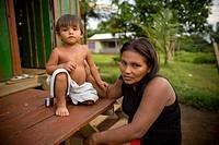 Woman and Child, Terra Preta Community, Cuieiras River, Amazônia, Manaus, Amazonas, Brazil