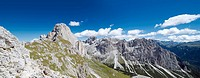 Panoramic view of the Rosengarten Massif with the peak of Mt. Rosengarten, Tiers, Bolzano-Bozen, Italy, Europe