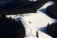 Aueralm alpine pasture on Mt  Fockenstein in wintertime near Tegernsee lake in Bavaria, Germany, Europe