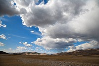 Rainstorm approaches over the steppe, north central Mongolia
