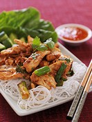 Chicken on glass noodles