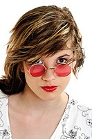 Young woman wearing pink sun glasses