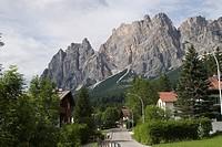 Town of Cortina d'Ampezzo, Cristallo Range, Dolomites, Italy