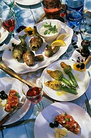 Antipasti: bruschetta, stuffed courgette flowers & artichokes
