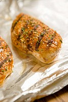 Grilled Seasoned Chicken Breasts on Foil