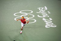 Spanish tennis player Rafael Nadal competing during Good Luck Beijing games, Beijing, China