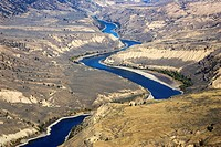 Fraser River and grasslands in British Columbia, Canada