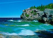 Dolostone rock on shore of Georgian Bay at Indian Head Cove, Bruce Peninsula National Park, Ontario, Canada