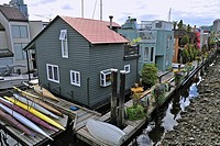 Floating homes, Granville Island, Vancouver, British Columbia, Canada