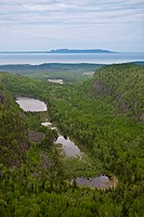 Aerial view of a canyon, Sleeping Giant Provincial Park, Thunder Bay, Lake Superior, Ontario, Canada